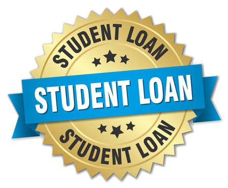 student loan: student loan 3d gold badge with blue ribbon Illustration