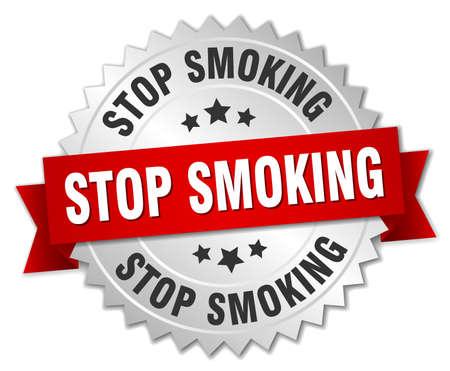 stop smoking: stop smoking 3d silver badge with red ribbon