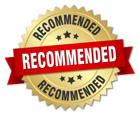 recommended: recommended 3d gold badge with red ribbon Illustration