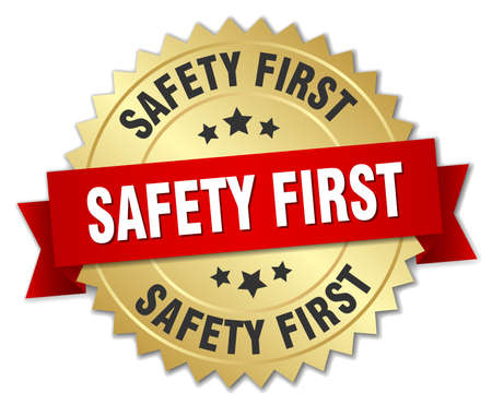 safety first 3d gold badge with red ribbon