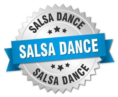 salsa dance: salsa dance 3d silver badge with blue ribbon
