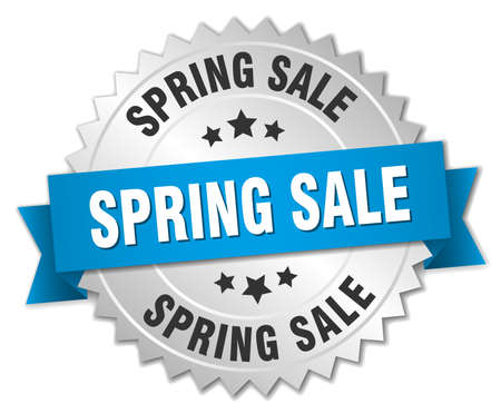 spring sale: spring sale 3d silver badge with blue ribbon