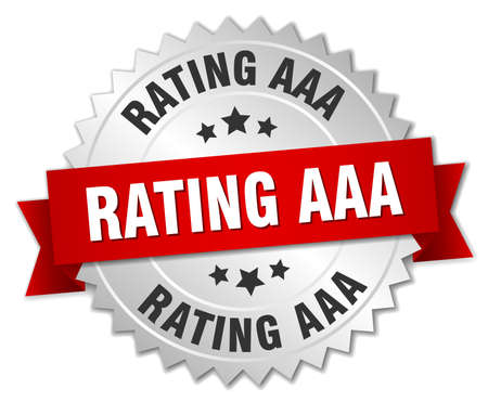 aaa: rating aaa 3d silver badge with red ribbon