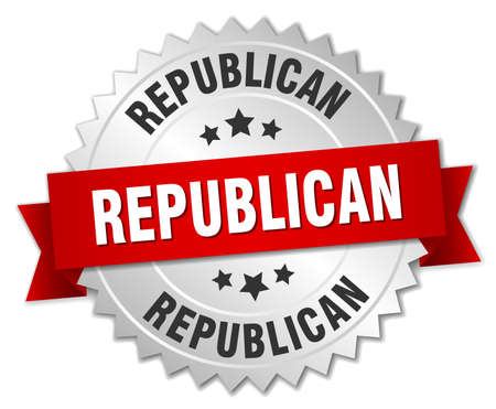 republican: republican 3d silver badge with red ribbon