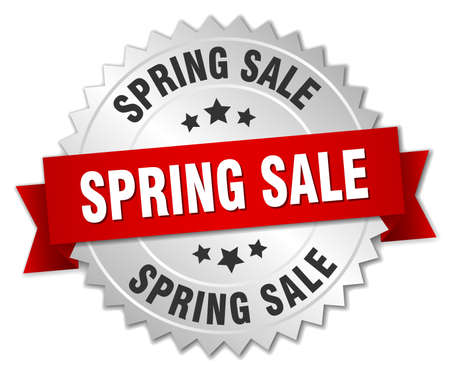 spring sale 3d silver badge with red ribbon Illustration