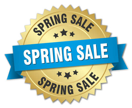 spring sale: spring sale 3d gold badge with blue ribbon