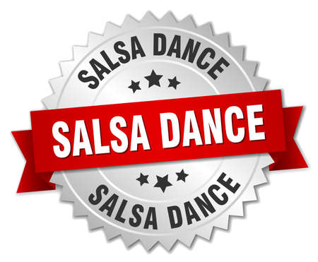 salsa dance: salsa dance 3d silver badge with red ribbon
