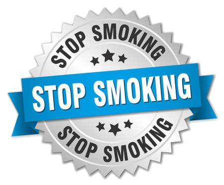 stop smoking: stop smoking 3d silver badge with blue ribbon Illustration
