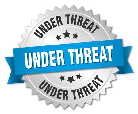 threat: under threat 3d silver badge with blue ribbon