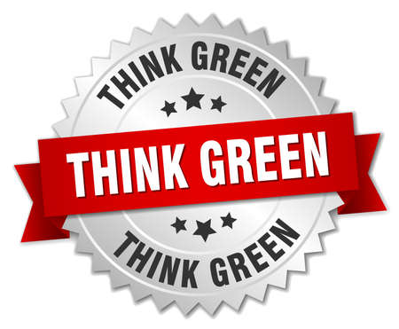 think green: think green 3d silver badge with red ribbon