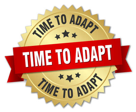 adapt: time to adapt 3d gold badge with red ribbon