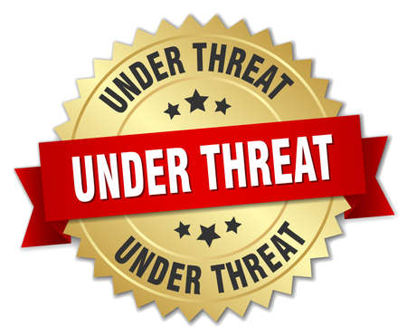 the threat: under threat 3d gold badge with red ribbon Illustration