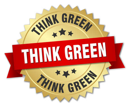 think green: think green 3d gold badge with red ribbon