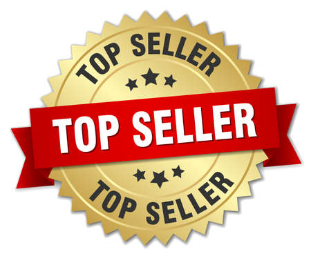 top seller 3d gold badge with red ribbon