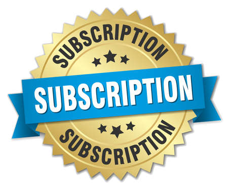 subscription 3d gold badge with blue ribbon
