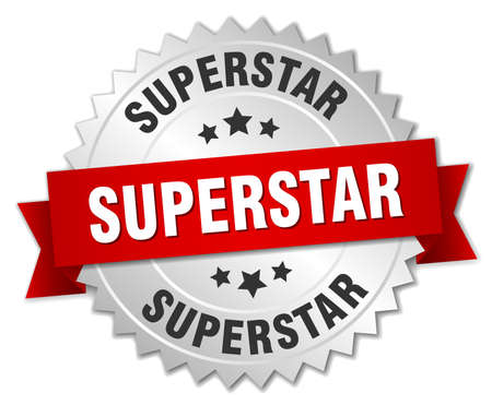 superstar: superstar 3d silver badge with red ribbon