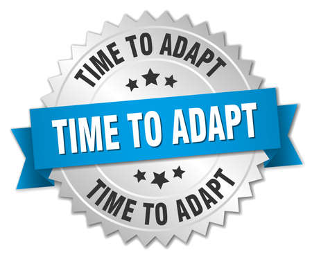 adapt: time to adapt 3d silver badge with blue ribbon