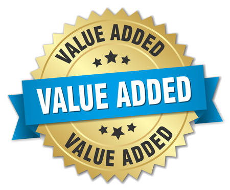 value add: value added 3d gold badge with blue ribbon