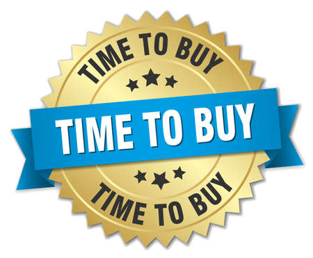 buy time: time to buy 3d gold badge with blue ribbon Illustration