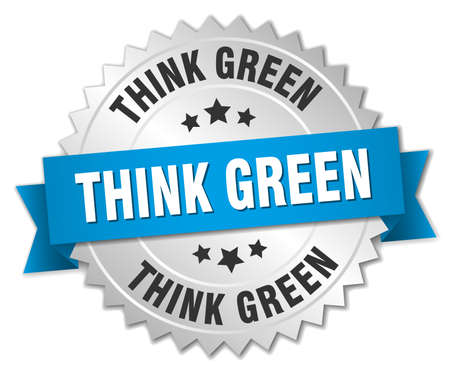 think green: think green 3d silver badge with blue ribbon Vectores