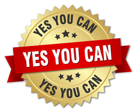 can yes you can: yes you can 3d gold badge with red ribbon