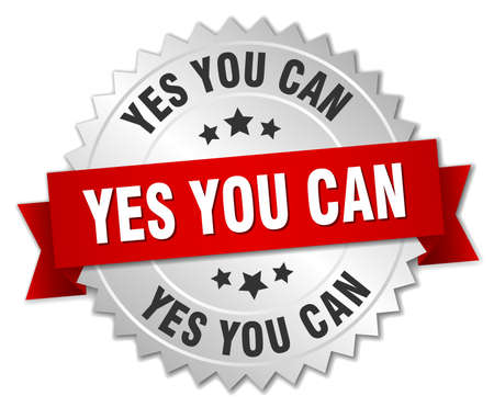 yes button: yes you can 3d silver badge with red ribbon Illustration