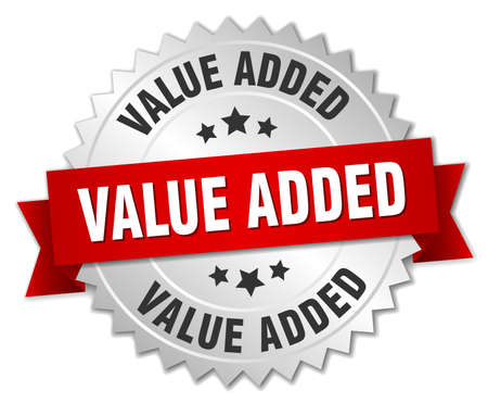 value add: value added 3d silver badge with red ribbon Illustration