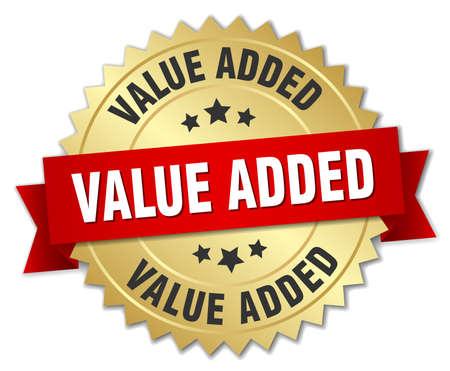 valor: valor añadido insignia de oro 3d con la cinta roja Vectores