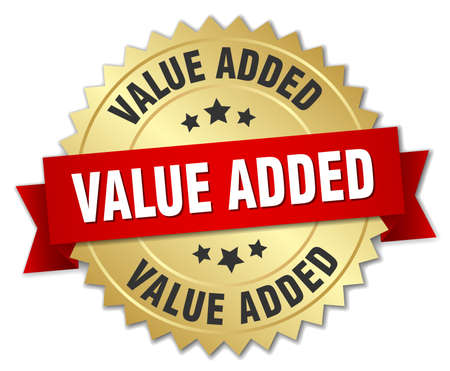 add: value added 3d gold badge with red ribbon