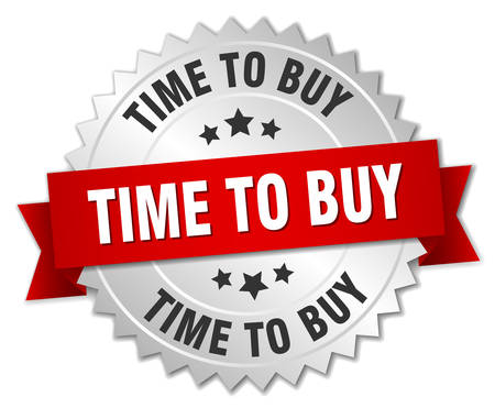 buy time: time to buy 3d silver badge with red ribbon