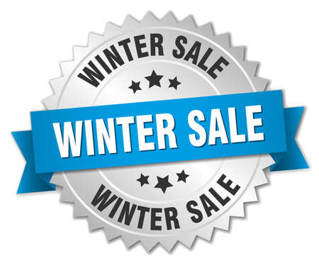 winter sale: winter sale 3d silver badge with blue ribbon
