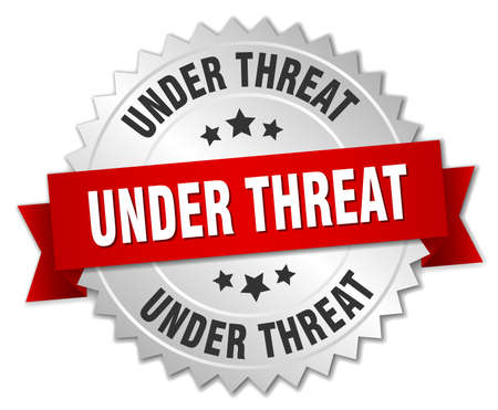 threat: under threat 3d silver badge with red ribbon