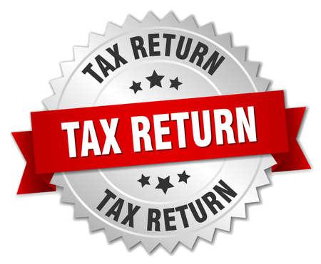 tax return: tax return 3d silver badge with red ribbon Illustration