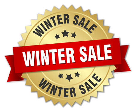 winter sale: winter sale 3d gold badge with red ribbon