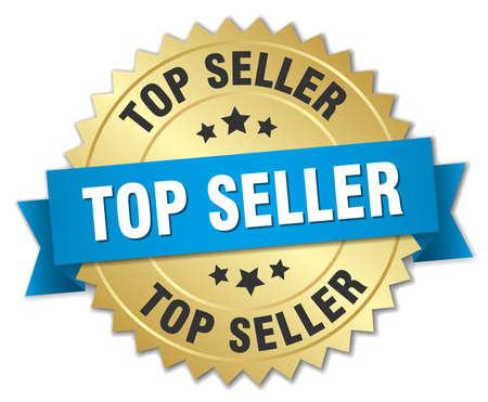 Lo más vendido insignia 3d de oro con la cinta azul Foto de archivo - 44497567