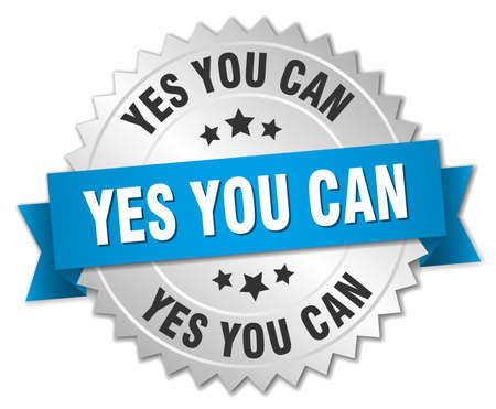 can yes you can: yes you can 3d silver badge with blue ribbon