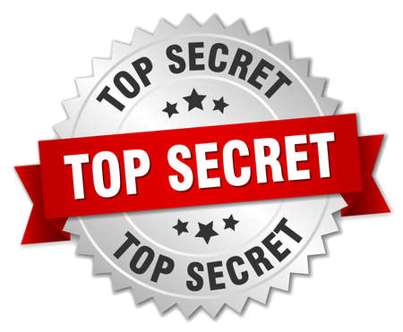 top secret: top secret 3d silver badge with red ribbon Illustration