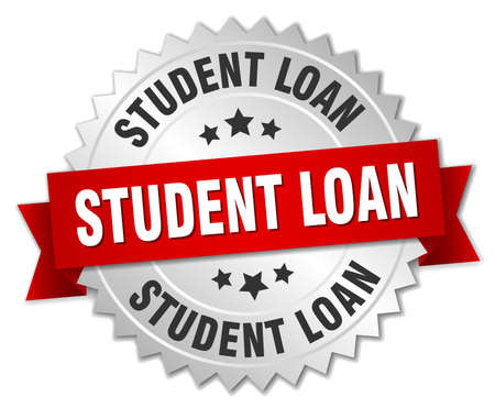 student loan: student loan 3d silver badge with red ribbon