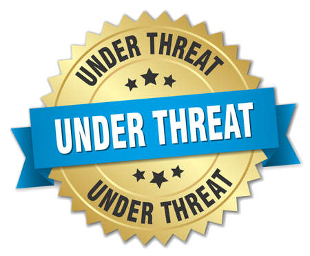 threat: under threat 3d gold badge with blue ribbon