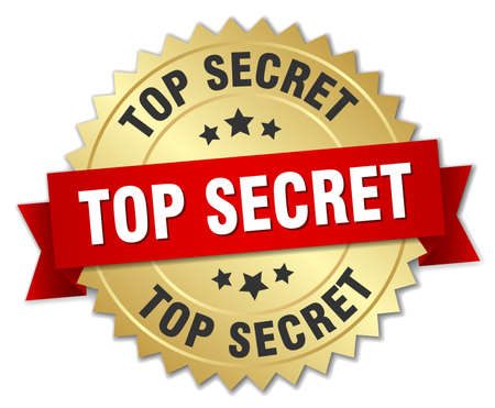 top secret: top secret 3d gold badge with red ribbon
