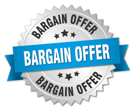 bargain: bargain offer 3d silver badge with blue ribbon