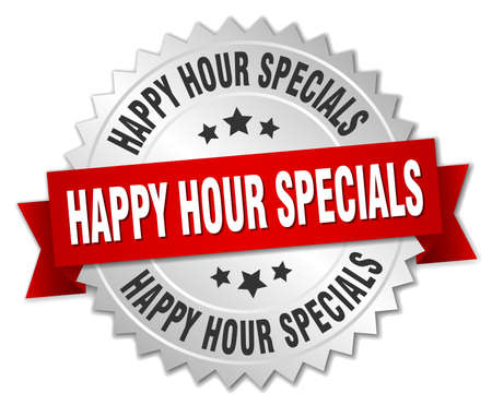 specials: happy hour specials 3d silver badge with red ribbon Illustration