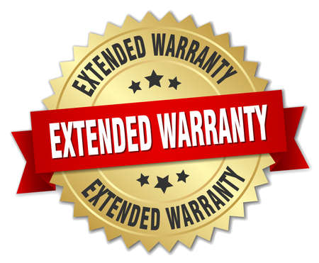 extended warranty 3d gold badge with red ribbon Stok Fotoğraf - 44621476
