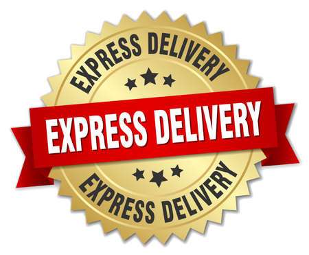 express delivery 3d gold badge with red ribbon