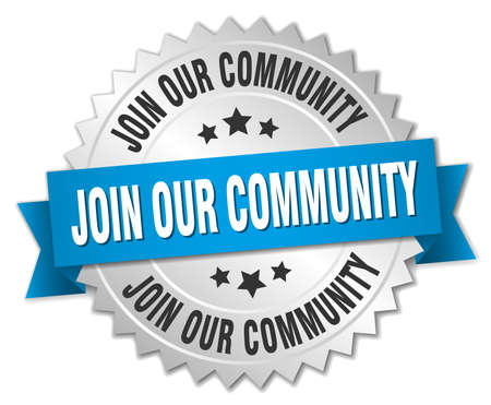 our: join our community 3d silver badge with blue ribbon
