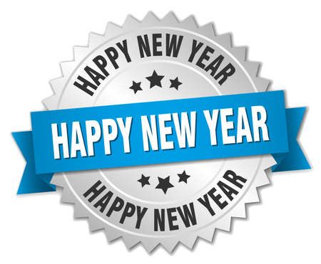 happy new years: happy new year 3d silver badge with blue ribbon