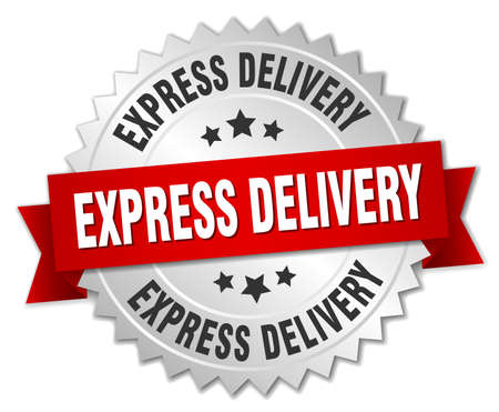 express delivery 3d silver badge with red ribbon