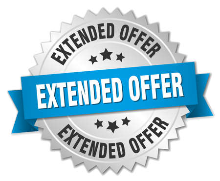 extended: extended offer 3d silver badge with blue ribbon