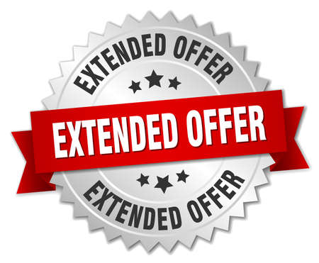 estendido: extended offer 3d silver badge with red ribbon