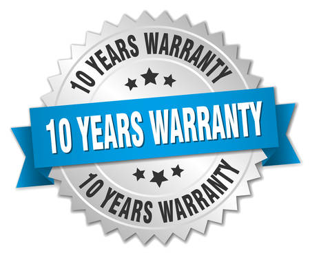 10 years: 10 years warranty 3d silver badge with blue ribbon
